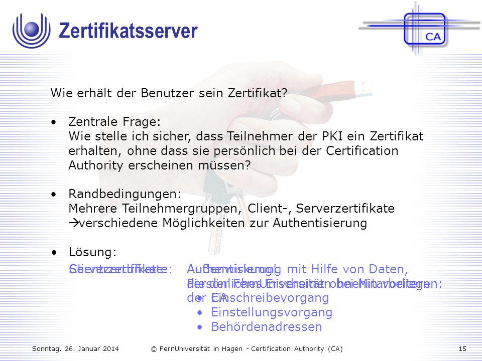 Zertifikatsserver Wie erhält der Benutzer sein Zertifikat
