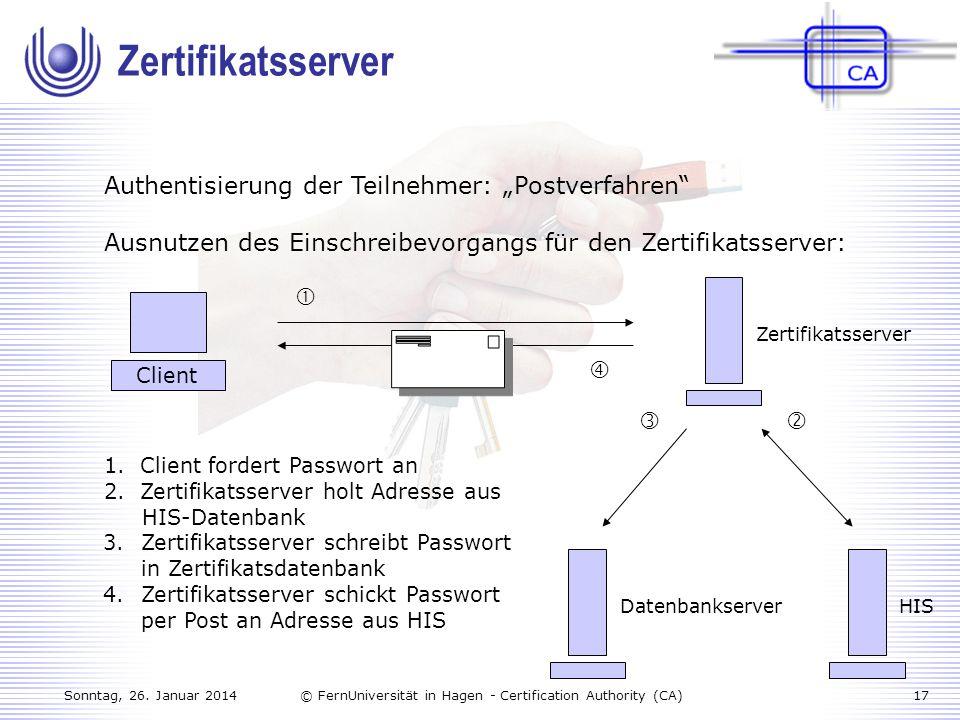 """Zertifikatsserver Authentisierung der Teilnehmer: """"Postverfahren"""