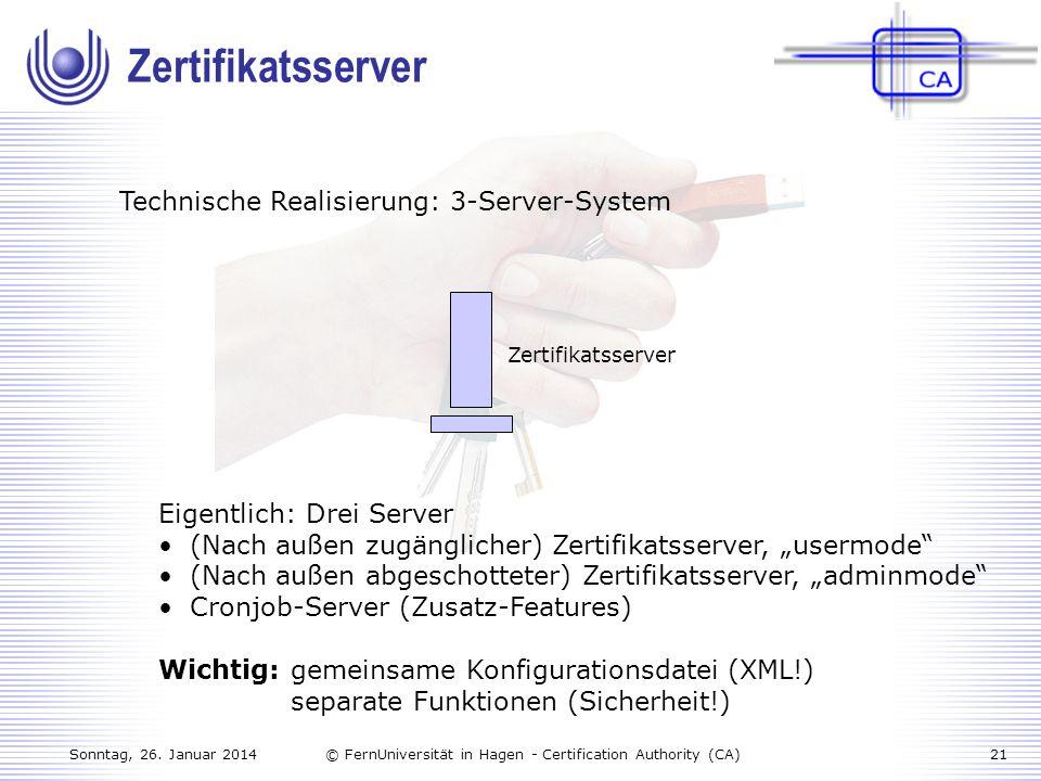 Zertifikatsserver Technische Realisierung: 3-Server-System