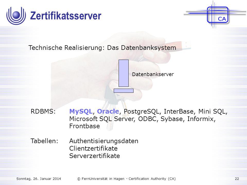Zertifikatsserver Technische Realisierung: Das Datenbanksystem