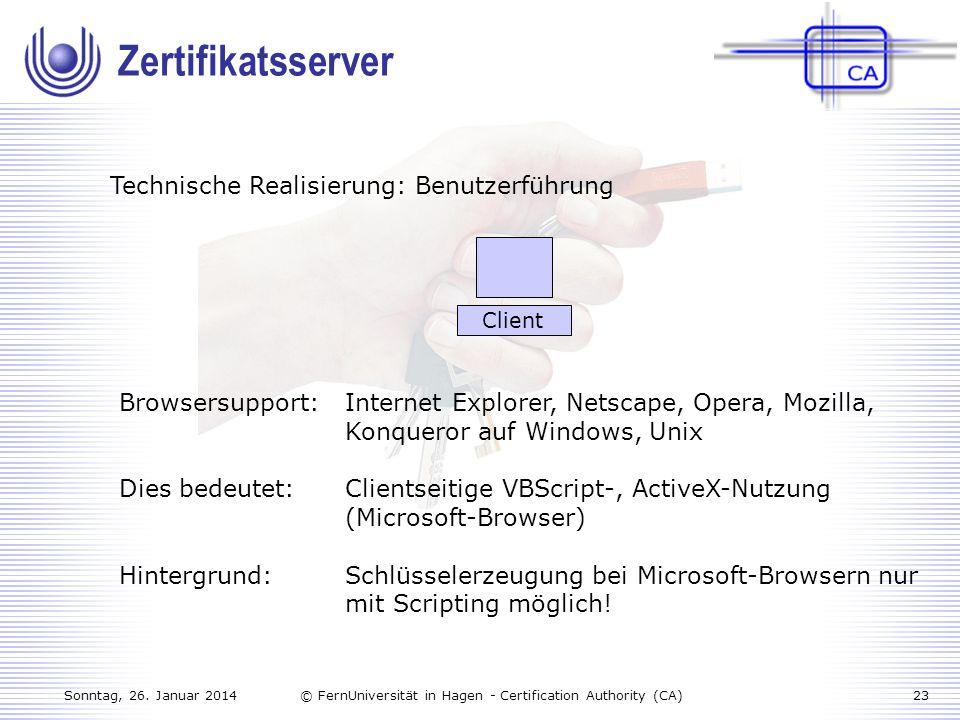 Zertifikatsserver Technische Realisierung: Benutzerführung