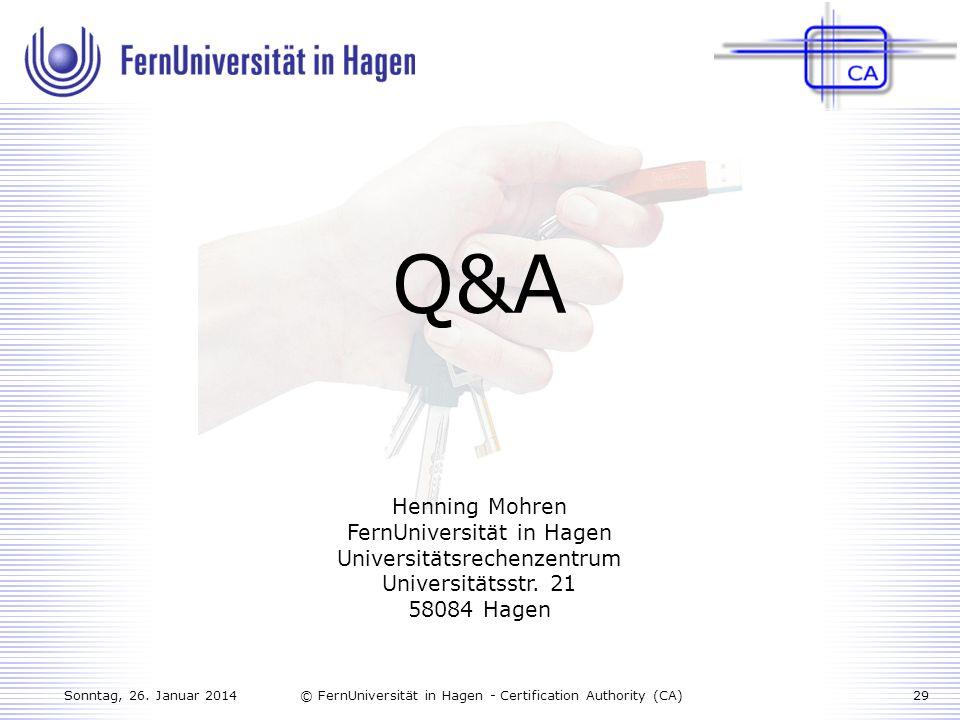 Q&A Henning Mohren FernUniversität in Hagen Universitätsrechenzentrum