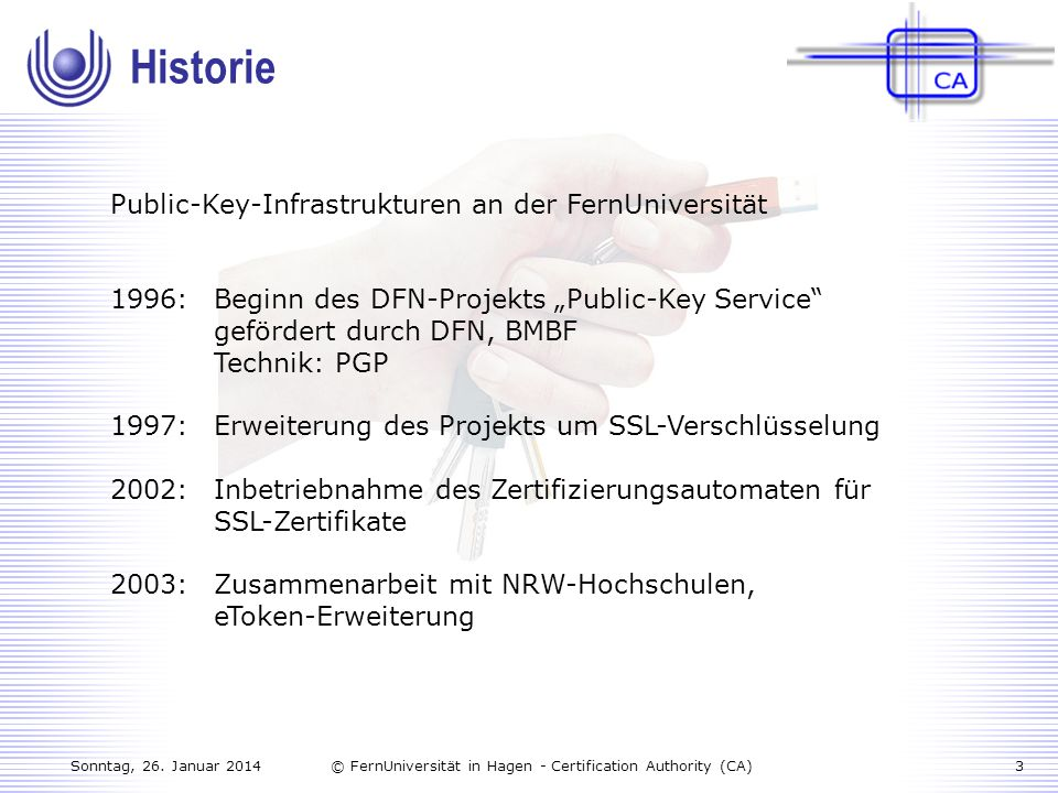 Historie Public-Key-Infrastrukturen an der FernUniversität
