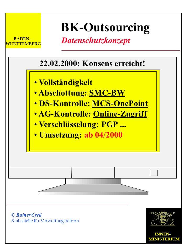 BK-Outsourcing Datenschutzkonzept 22.02.2000: Konsens erreicht!