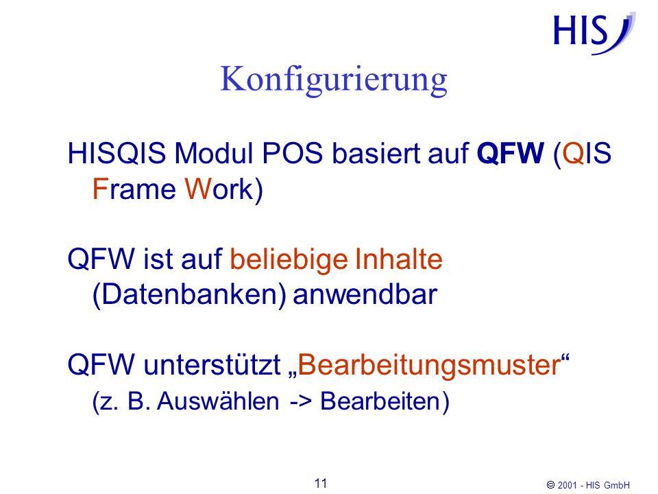 Konfigurierung HISQIS Modul POS basiert auf QFW (QIS Frame Work)