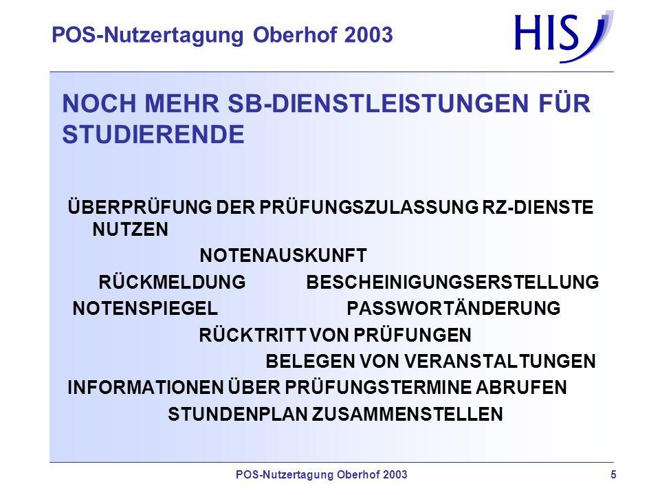 NOCH MEHR SB-DIENSTLEISTUNGEN FÜR STUDIERENDE