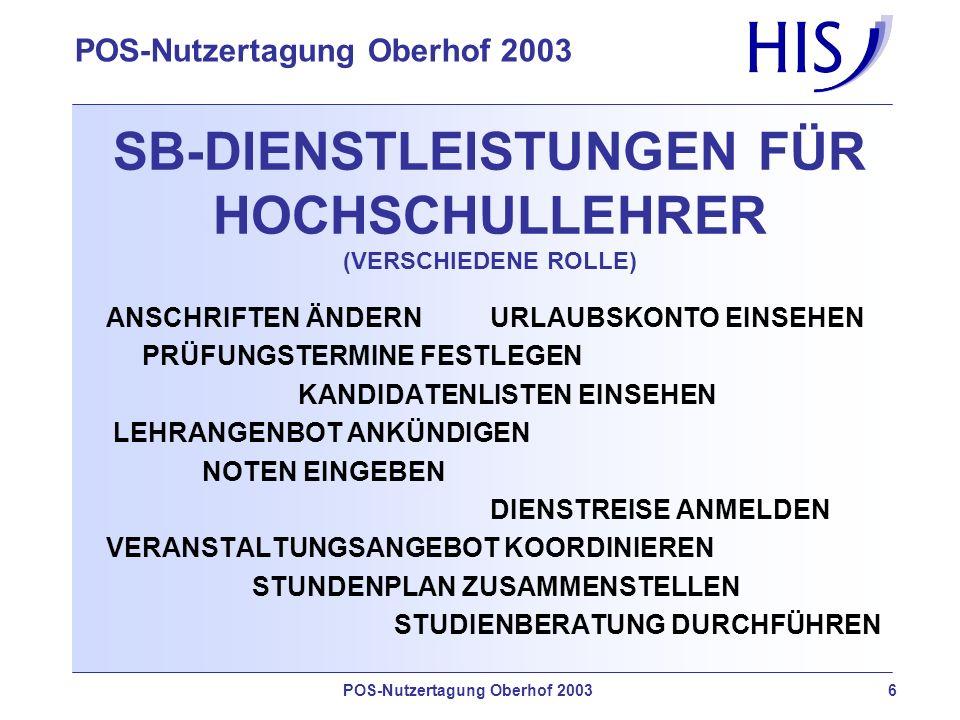SB-DIENSTLEISTUNGEN FÜR HOCHSCHULLEHRER (VERSCHIEDENE ROLLE)