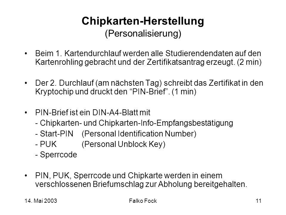 Chipkarten-Herstellung (Personalisierung)