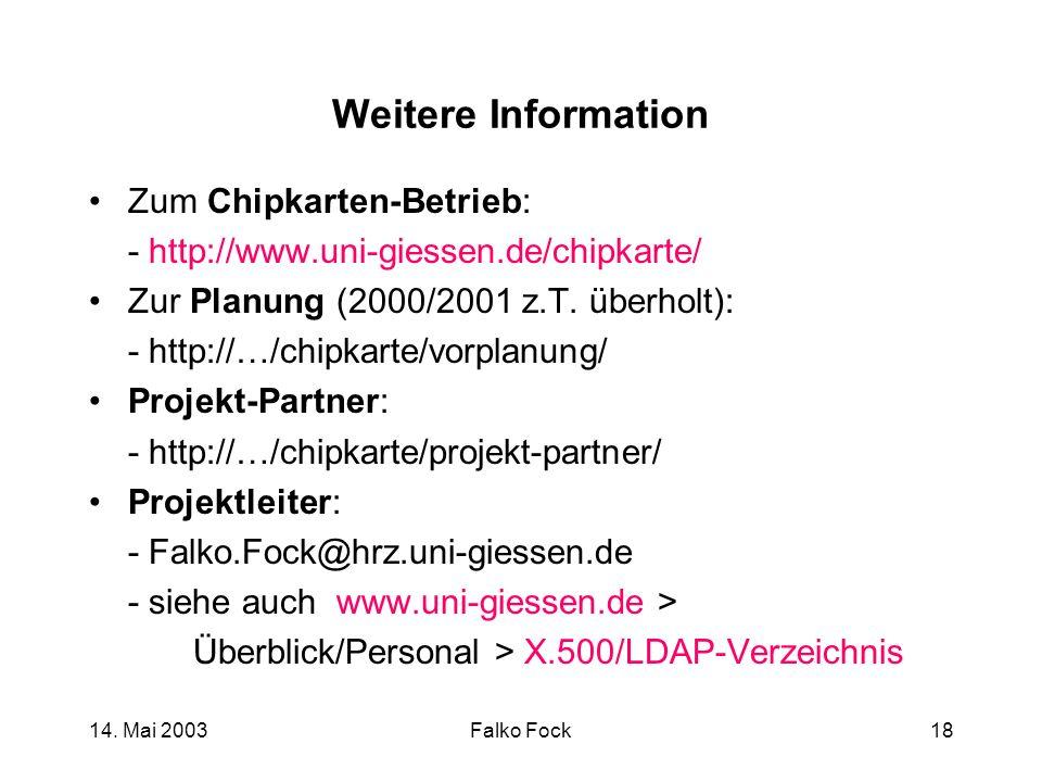 Weitere Information Zum Chipkarten-Betrieb:
