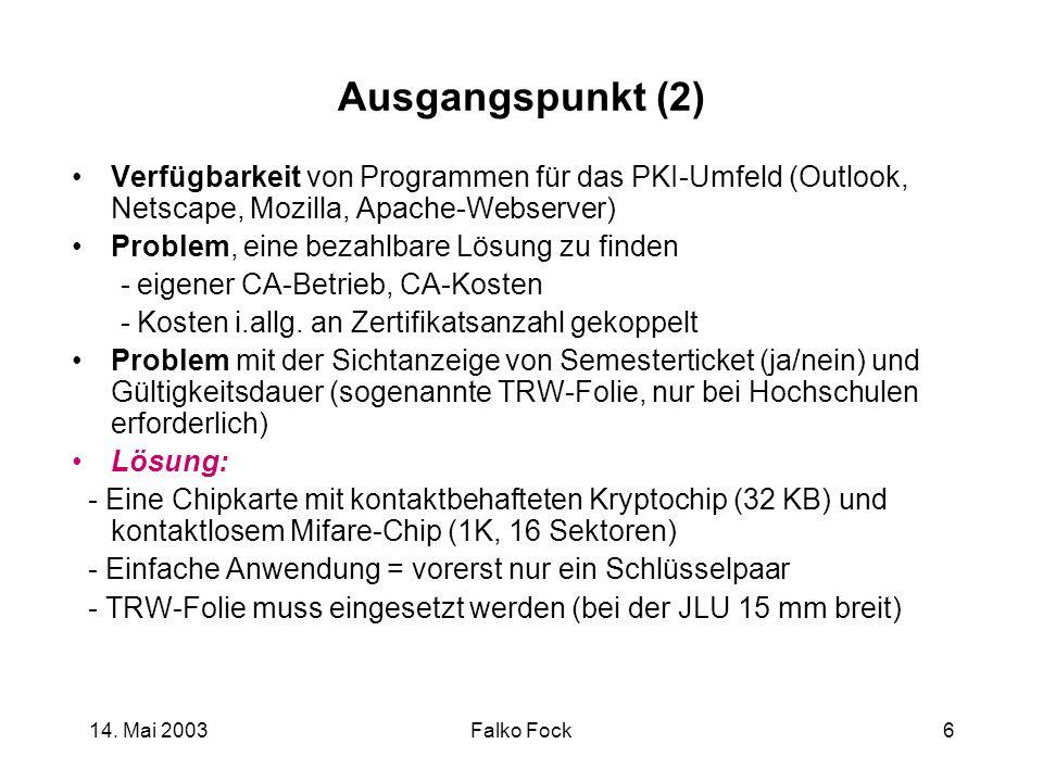 Ausgangspunkt (2) Verfügbarkeit von Programmen für das PKI-Umfeld (Outlook, Netscape, Mozilla, Apache-Webserver)