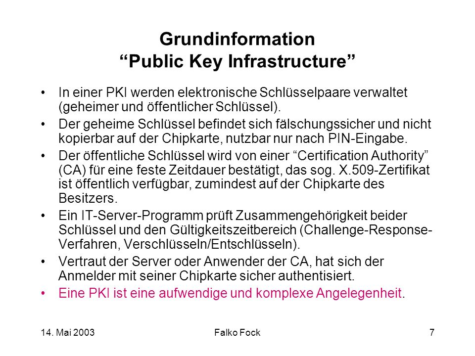 Grundinformation Public Key Infrastructure