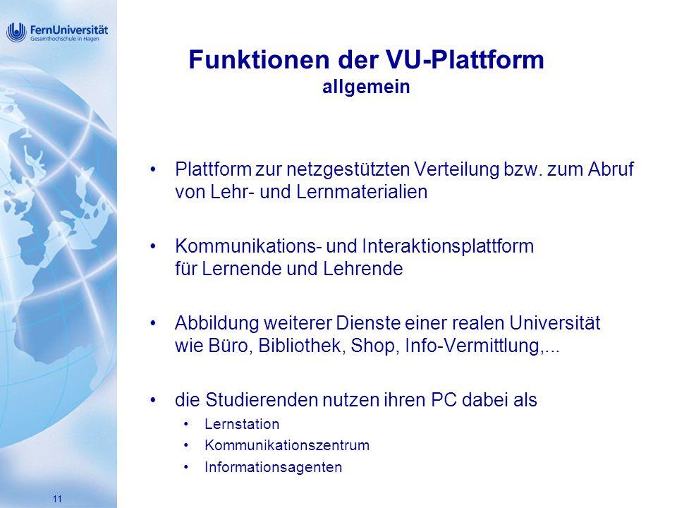 Funktionen der VU-Plattform allgemein