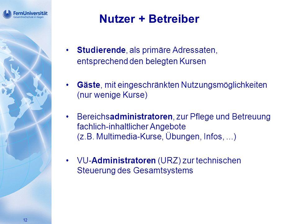 Nutzer + Betreiber Studierende, als primäre Adressaten, entsprechend den belegten Kursen.