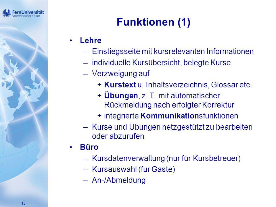 Funktionen (1) Lehre Einstiegsseite mit kursrelevanten Informationen