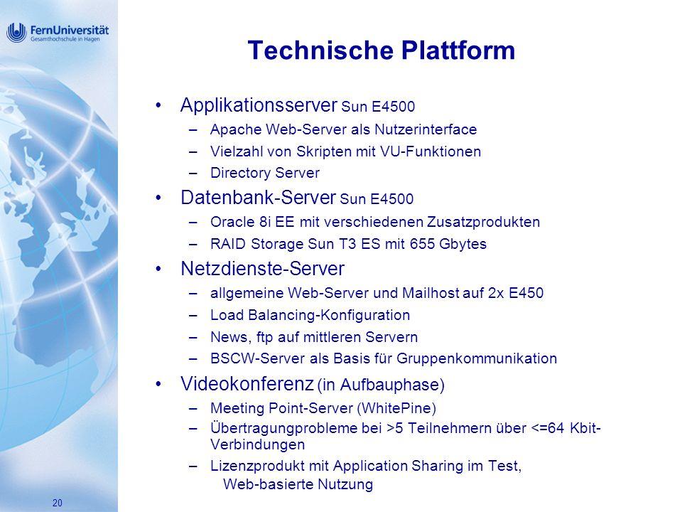 Technische Plattform Applikationsserver Sun E4500