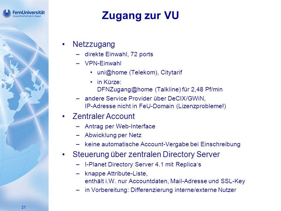 Zugang zur VU Netzzugang Zentraler Account