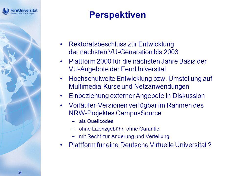 Perspektiven Rektoratsbeschluss zur Entwicklung der nächsten VU-Generation bis 2003.