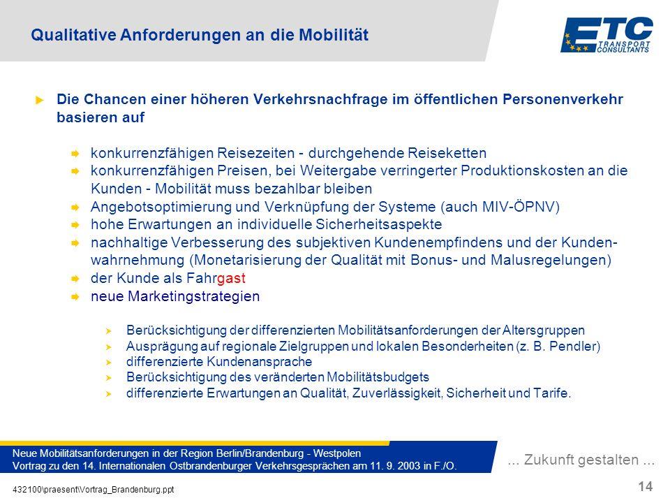 Qualitative Anforderungen an die Mobilität