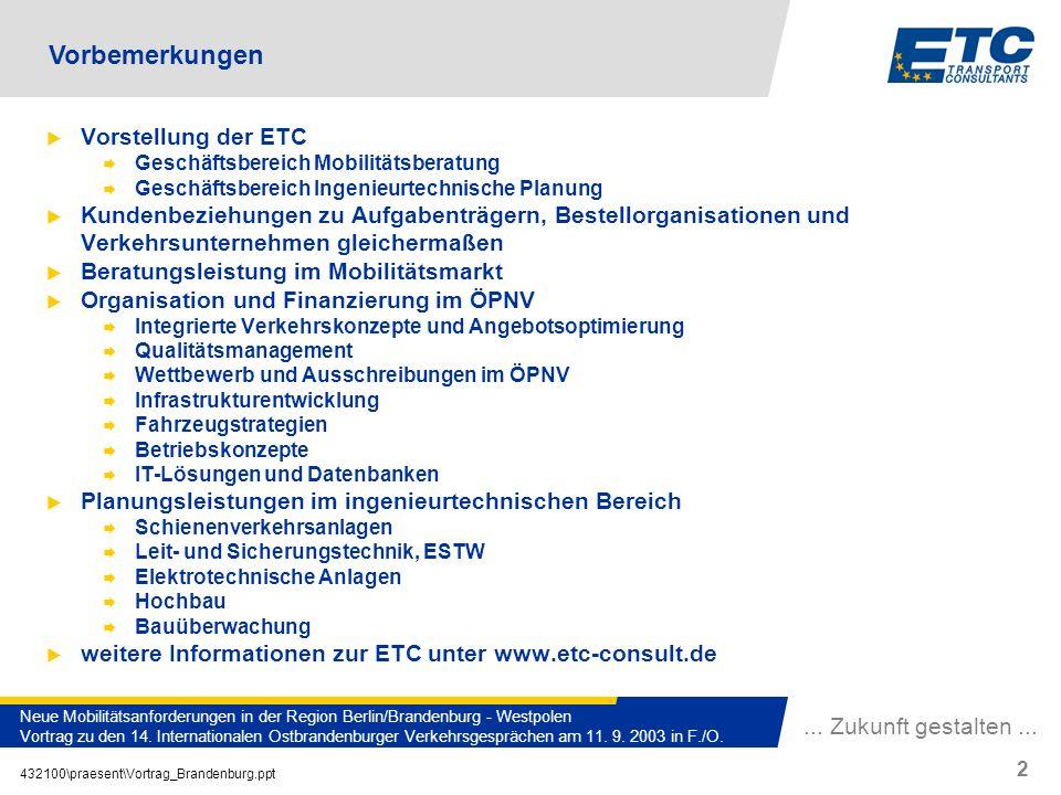 Vorbemerkungen Vorstellung der ETC