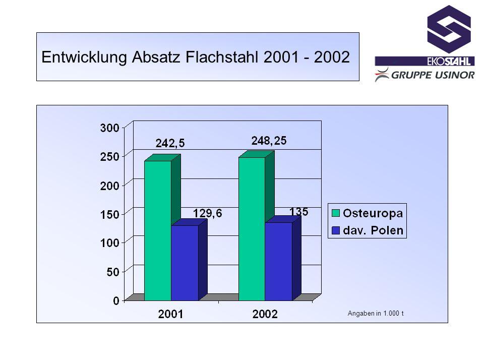 Entwicklung Absatz Flachstahl 2001 - 2002