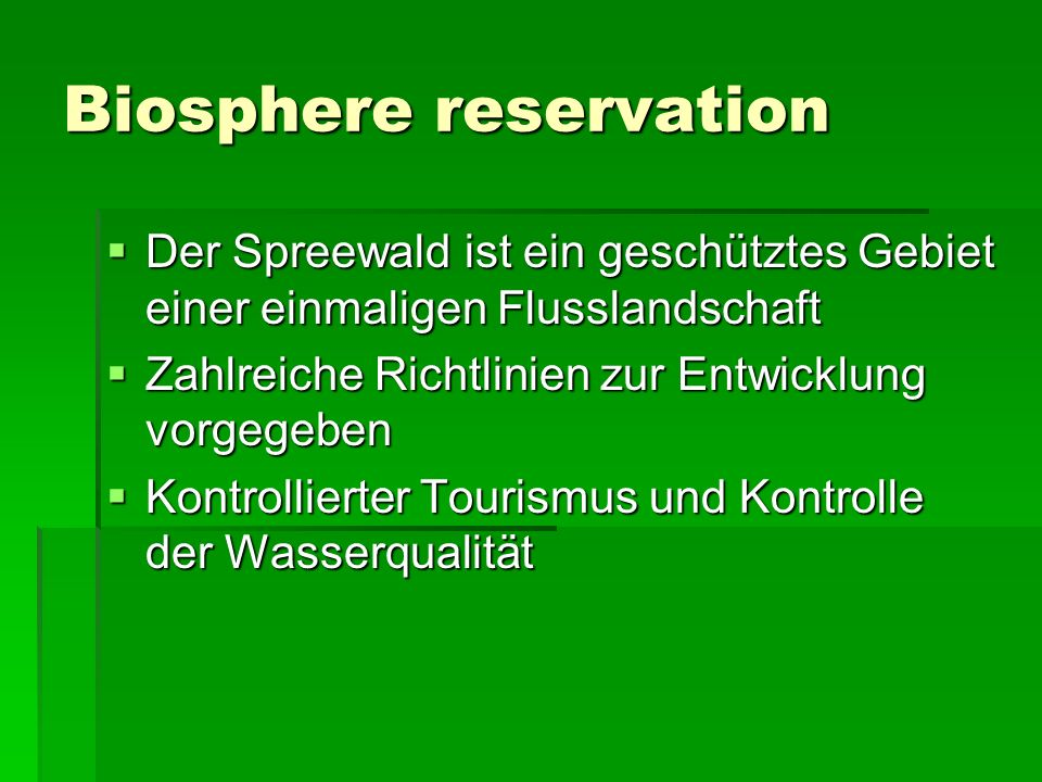 Biosphere reservation