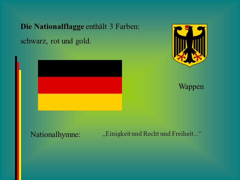 Die Nationalflagge enthält 3 Farben: schwarz, rot und gold.