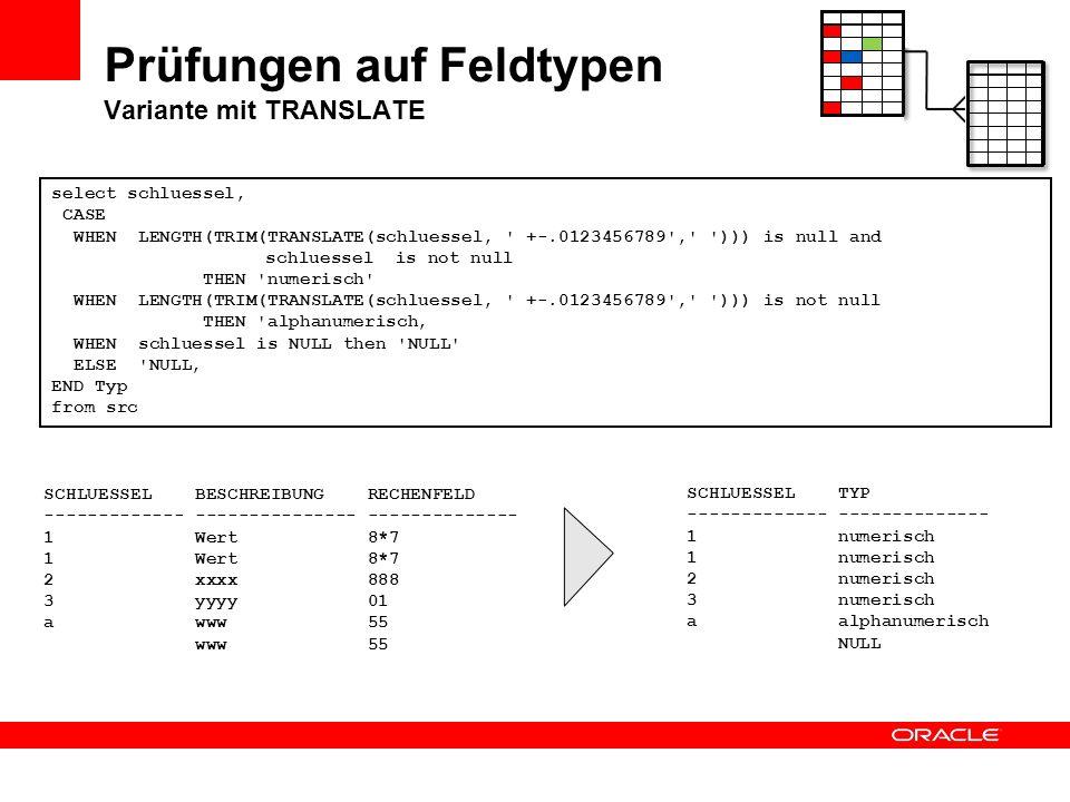 Prüfungen auf Feldtypen Variante mit TRANSLATE