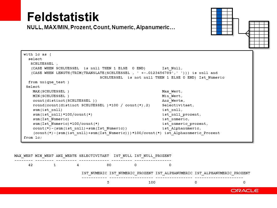 Feldstatistik NULL, MAX/MIN, Prozent, Count, Numeric, Alpanumeric…