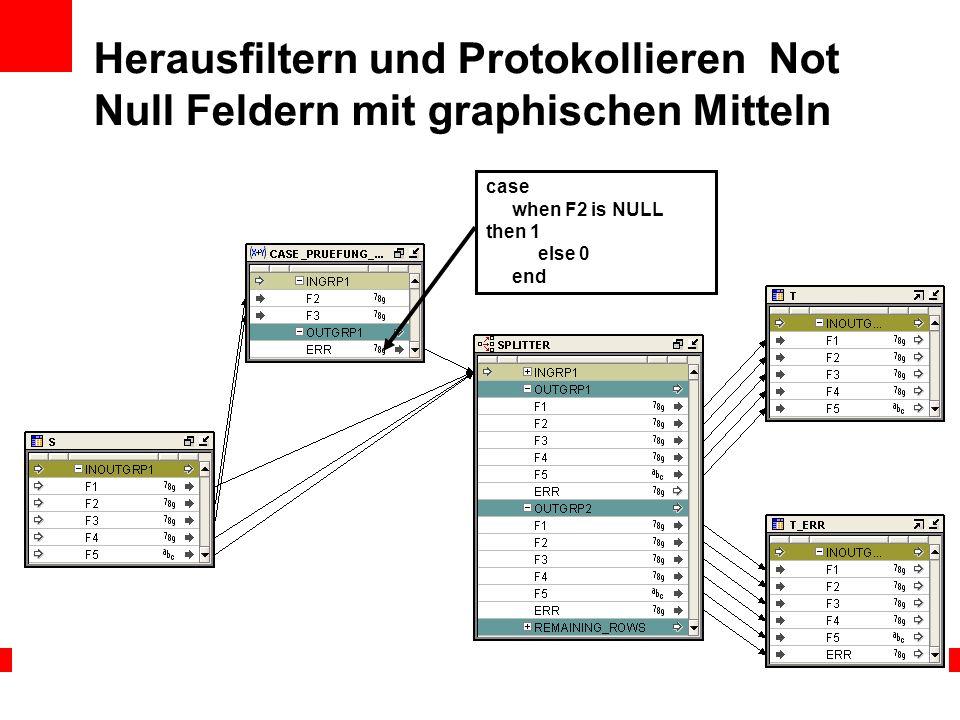 Herausfiltern und Protokollieren Not Null Feldern mit graphischen Mitteln