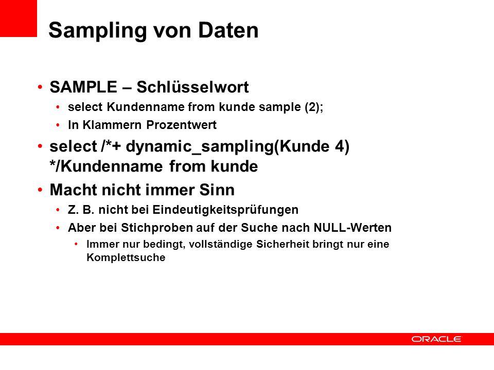 Sampling von Daten SAMPLE – Schlüsselwort