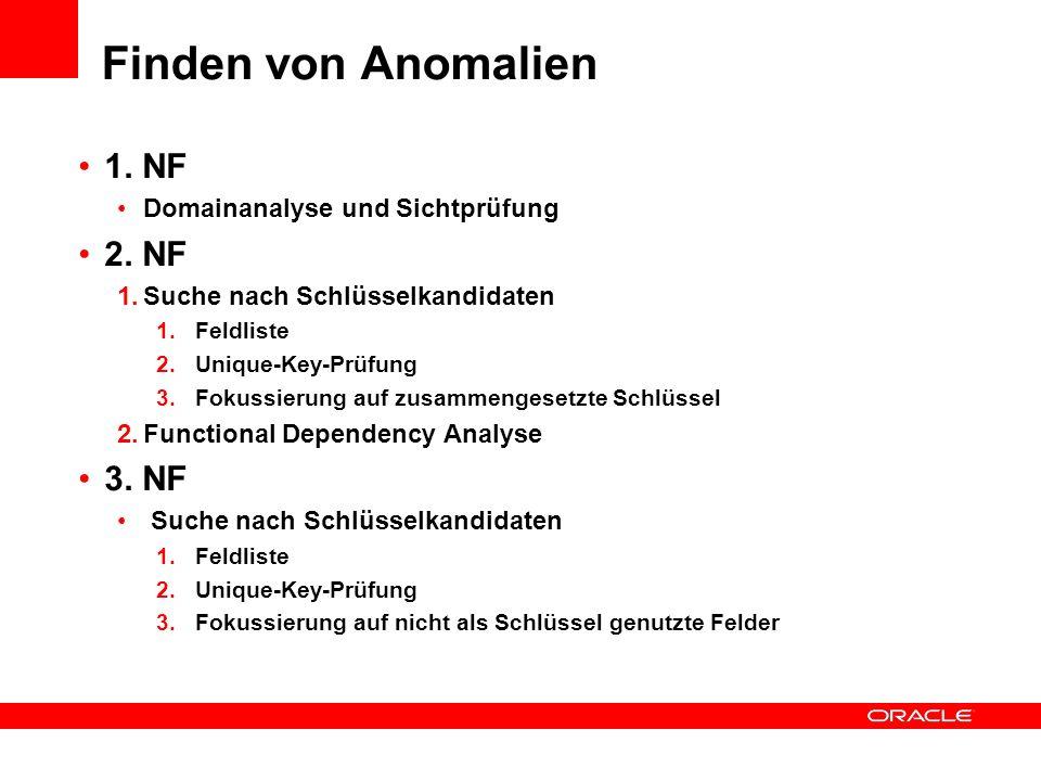 Finden von Anomalien 1. NF 2. NF 3. NF Domainanalyse und Sichtprüfung