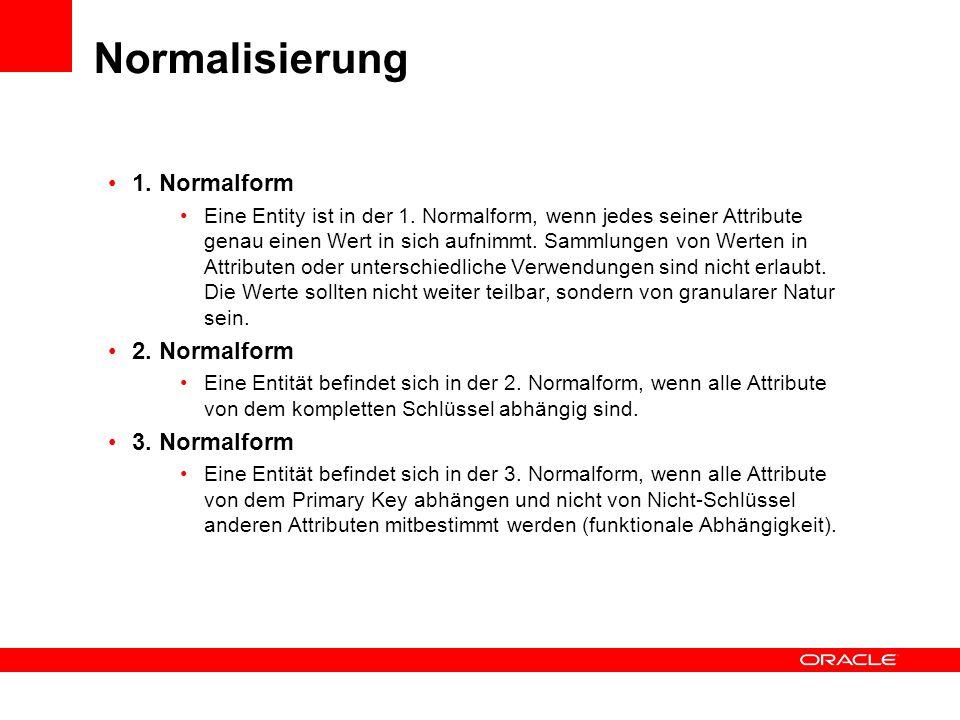 Normalisierung 1. Normalform 2. Normalform 3. Normalform