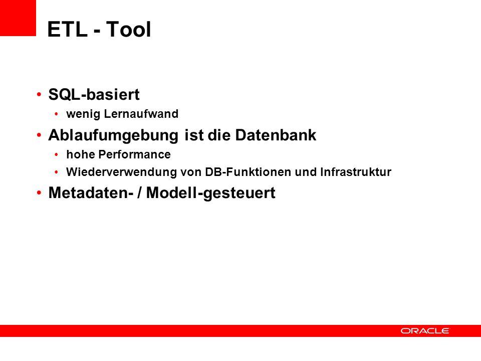 ETL - Tool SQL-basiert Ablaufumgebung ist die Datenbank