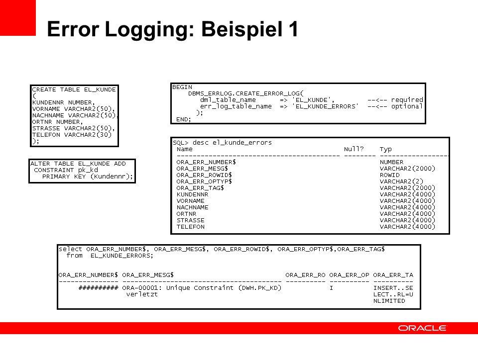 Error Logging: Beispiel 1