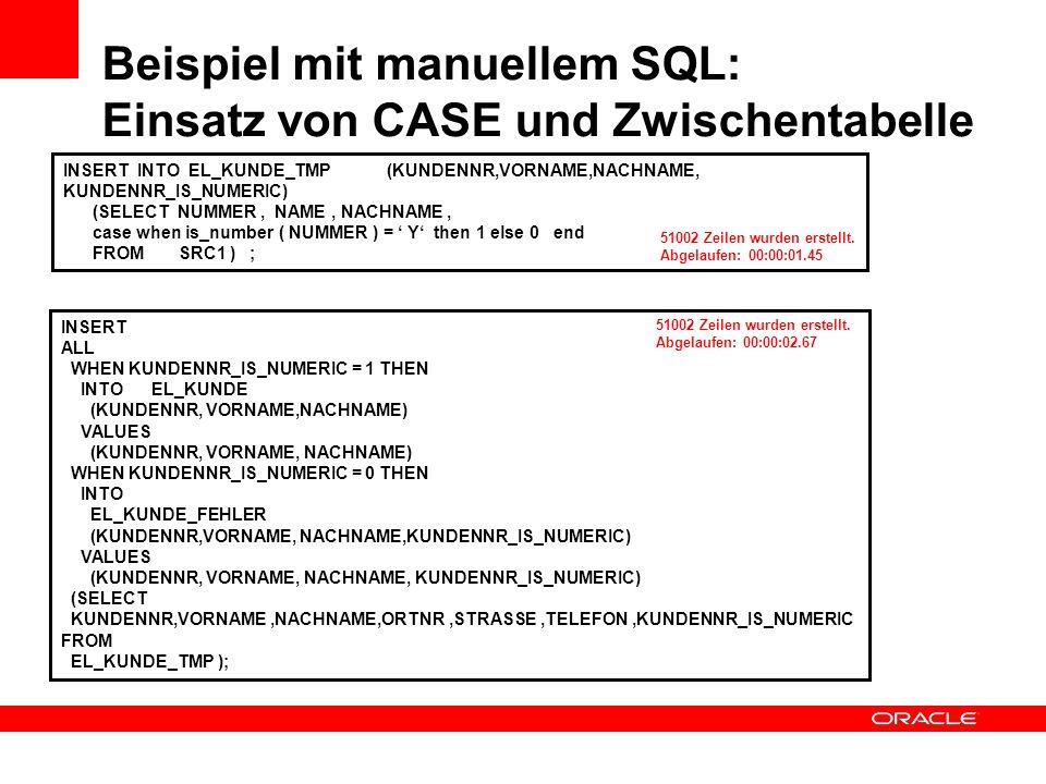Beispiel mit manuellem SQL: Einsatz von CASE und Zwischentabelle