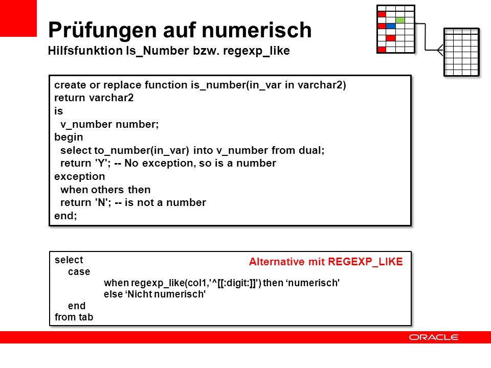 Prüfungen auf numerisch Hilfsfunktion Is_Number bzw. regexp_like