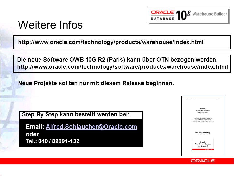 Weitere Infos http://www.oracle.com/technology/products/warehouse/index.html. Die neue Software OWB 10G R2 (Paris) kann über OTN bezogen werden.