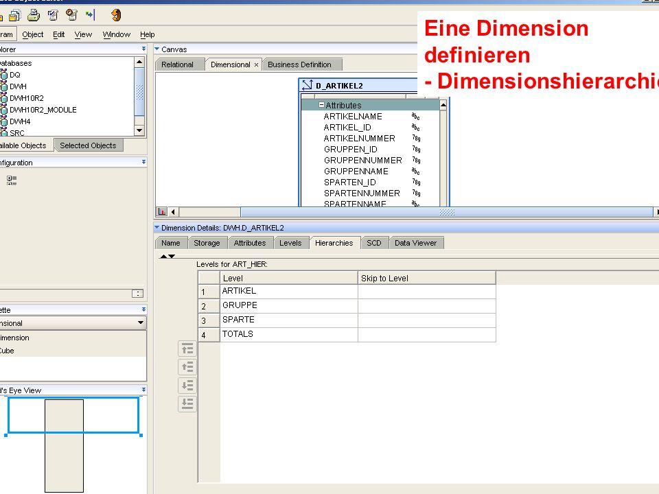 Eine Dimension definieren - Dimensionshierarchie