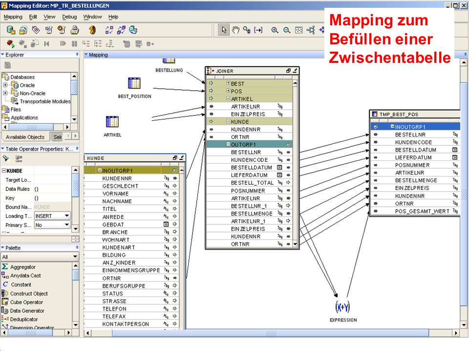 Mapping zum Befüllen einer Zwischentabelle