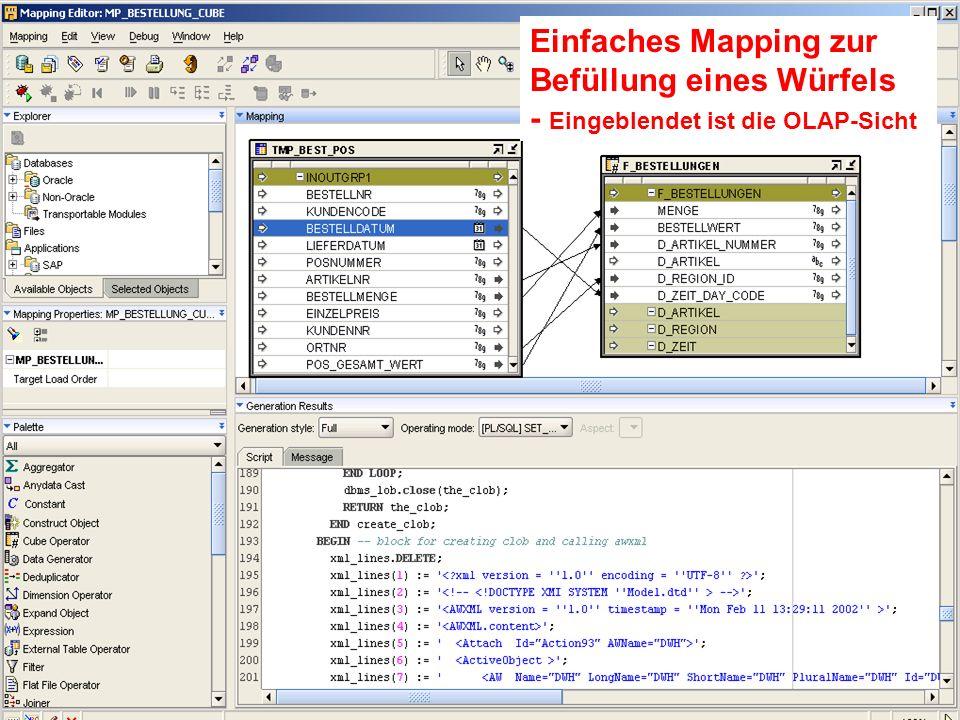 Einfaches Mapping zur Befüllung eines Würfels - Eingeblendet ist die OLAP-Sicht