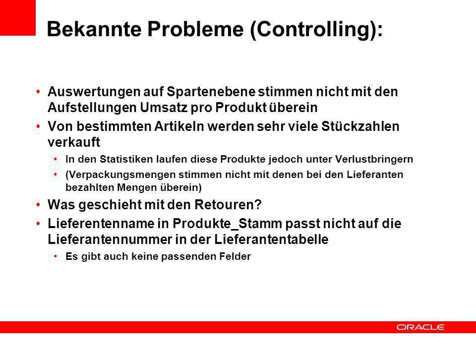 Bekannte Probleme (Controlling):