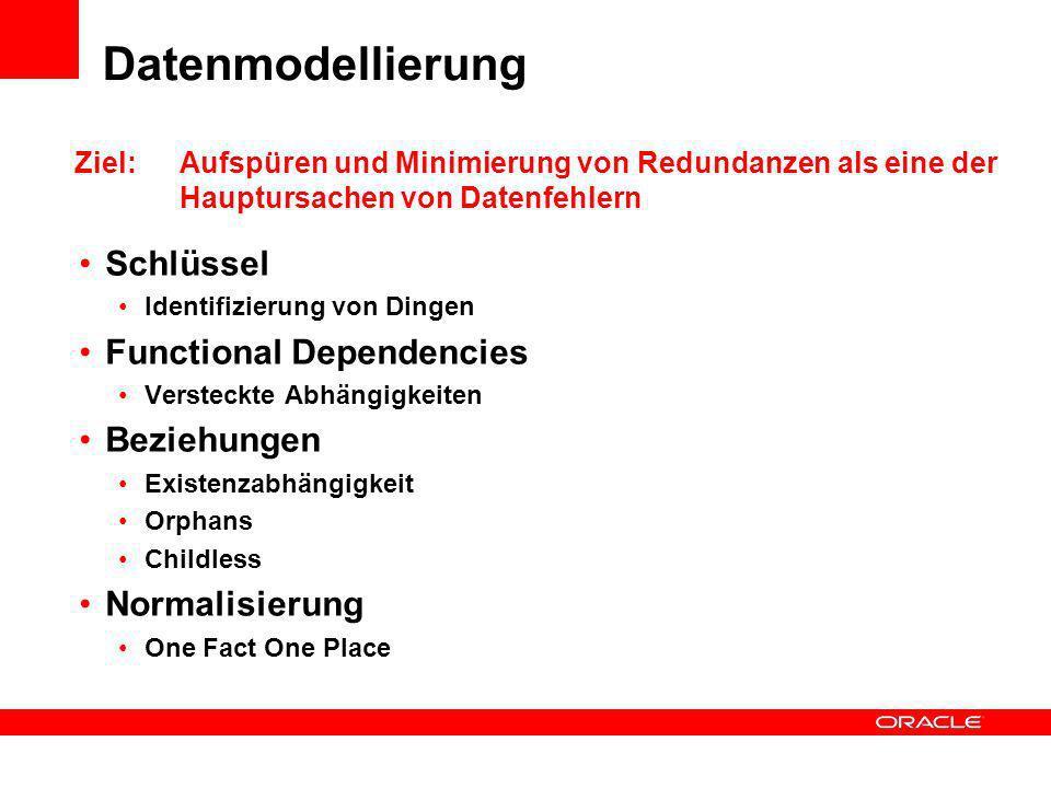 Datenmodellierung Schlüssel Functional Dependencies Beziehungen