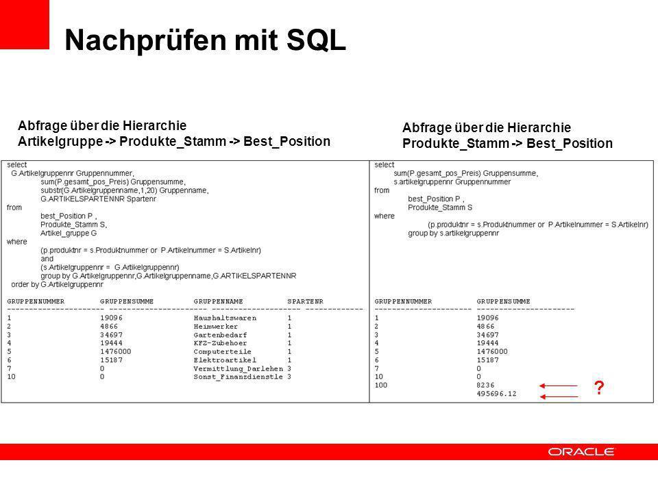Nachprüfen mit SQL Abfrage über die Hierarchie