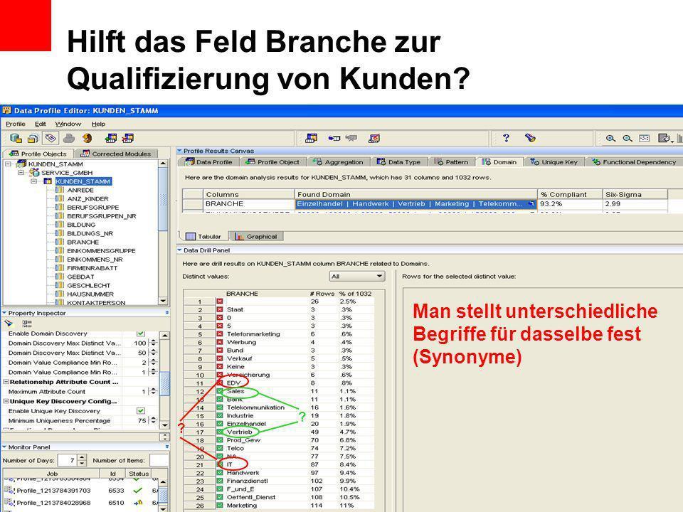 Hilft das Feld Branche zur Qualifizierung von Kunden