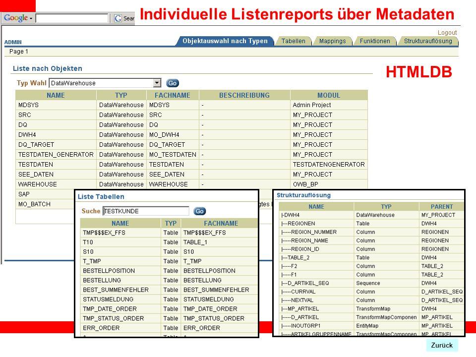Individuelle Listenreports über Metadaten