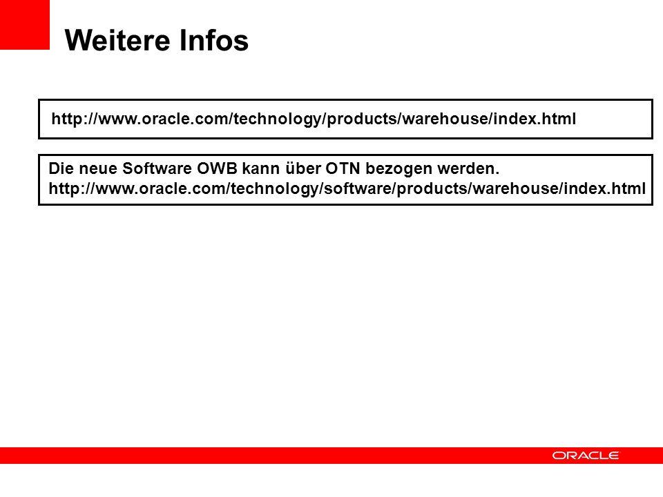 Weitere Infos http://www.oracle.com/technology/products/warehouse/index.html. Die neue Software OWB kann über OTN bezogen werden.