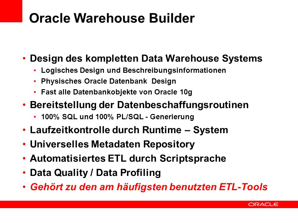 Oracle Warehouse Builder