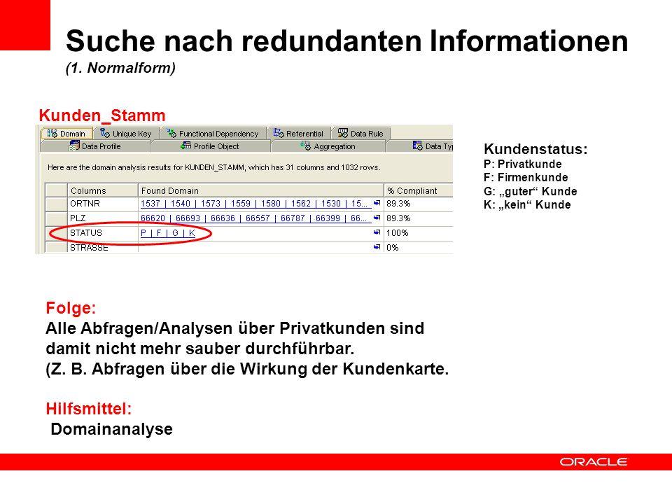 Suche nach redundanten Informationen (1. Normalform)