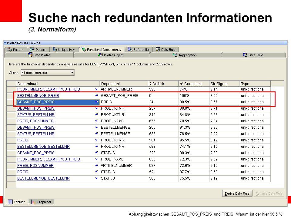 Suche nach redundanten Informationen (3. Normalform)