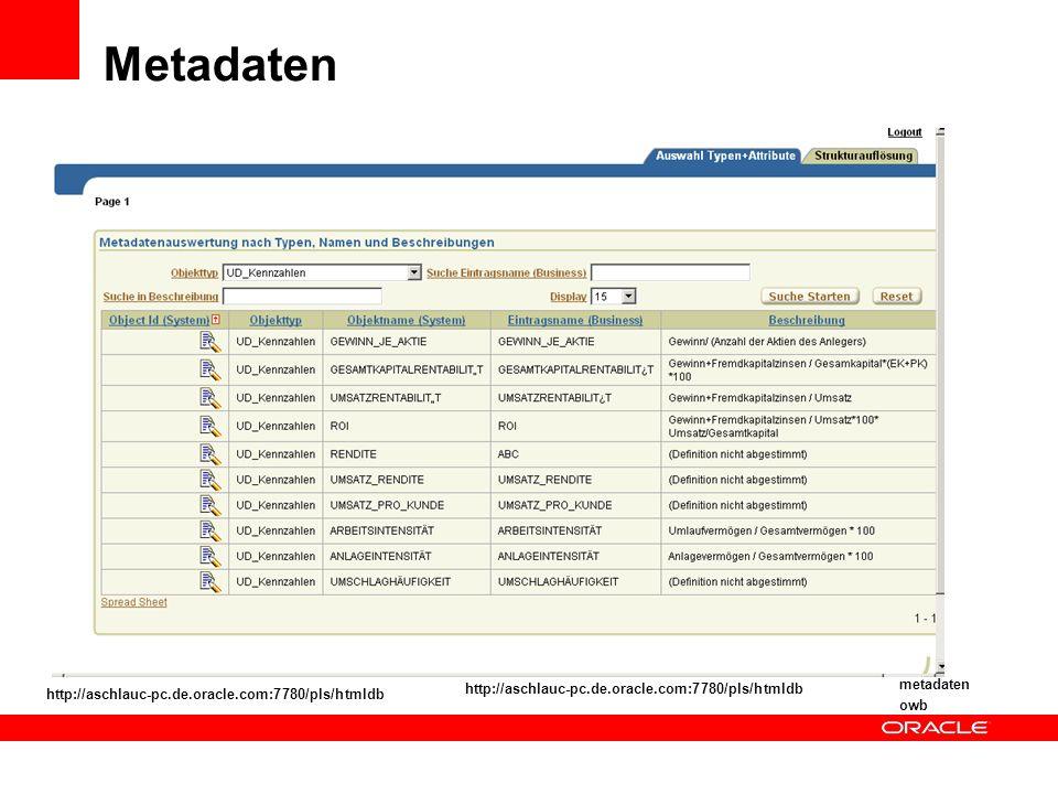 Metadaten metadaten http://aschlauc-pc.de.oracle.com:7780/pls/htmldb